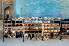 RUSSIAN TOQUES IN KHIVA UZBEKISTAN stock photography