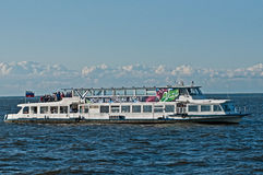 Russian tourist ship. Russian small vessel for crusing with tourists outside Saint Petersburg in Russia royalty free stock photography