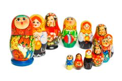 Russian toy matrioska. Isolated on white background Stock Photos