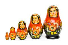 Russian toy matrioska. Isolated on white background Royalty Free Stock Images