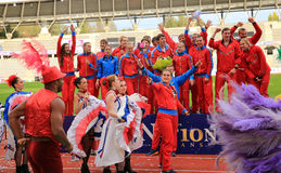 Russian Track and Field team celebrate second place on DecaNation International Outdoor Games Stock Photo