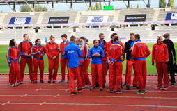 Russian Track and Field team on DecaNation Games Stock Image
