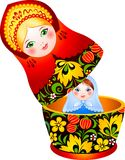 Russian tradition matryoshka doll. With the little doll inside Stock Photography