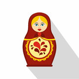 Russian tradition matryoshka doll icon, flat style Royalty Free Stock Photography