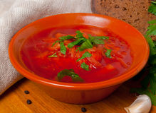 Russian traditional beet soup Stock Image