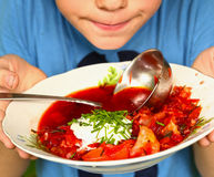 Russian traditional beetroot soup - borsch Royalty Free Stock Photo