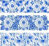 Russian traditional blue ornament in gzhel style stock illustration