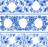 Russian traditional blue ornament in gzhel style Royalty Free Stock Photography