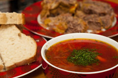 Russian traditional borscht Royalty Free Stock Photography