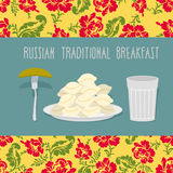 Russian traditional breakfast: vodka, dumplings and pickle. Russ Royalty Free Stock Photo