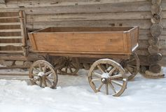 Russian traditional cart. Vitoslavlitsy open-air museum of wooden architecture. Novgorod the Great, Russia Stock Images