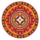 Russian traditional circle ornament with flowers o Stock Photos