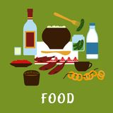 Russian traditional cuisine and food icons. Russian traditional food and drink flat icons  with potato, vodka, milk, red caviar, rye bread, dry bagels, roaches Stock Image