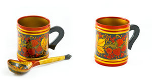 Russian traditional cup and spoon Royalty Free Stock Photography