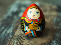 Russian traditional Doll. Homemade wooden russian art Stock Photos
