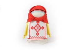 Russian traditional doll Krupenichka. Is a mascot for wealth and prosperity Stock Photography