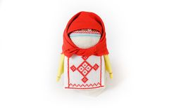 Russian traditional doll Krupenichka. Is a mascot for wealth and prosperity royalty free stock images