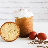 Russian easter bread egg pussy-willow. Russian traditional easter bread egg pussy-willow spring Royalty Free Stock Image