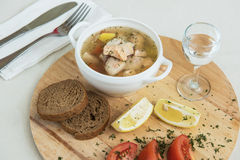 Russian traditional fish soup Stock Photos