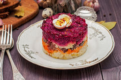 Russian traditional food. Herring under a fur coat Royalty Free Stock Images