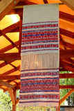 Russian traditional handmade towel. Made from flax on handloom Royalty Free Stock Photos