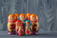 Russian traditional matreshka. On table Stock Images