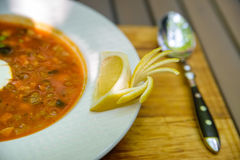 Russian traditional meat soup solyanka Royalty Free Stock Photo