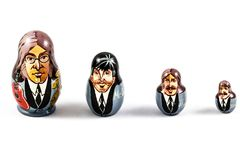 Russian traditional nested dolls - matryoshka. Dolls have a portrait of The Beatles,George Harrison, Ringo Starr, John Lennon and stock photos