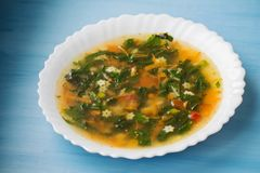 Green soup with sorrel and nettle in a white plate. Russian traditional nettle soup. Russian traditional nettle soup. Green soup with sorrel and nettle stock photo