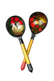 Russian traditional painted spoons on the white. Background Royalty Free Stock Images