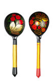 Russian traditional painted spoons on the white. Background Stock Images