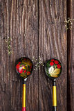 Russian traditional painted spoons on wooden. Background Stock Images
