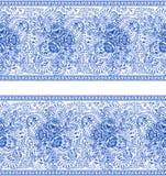 Russian painting gzhel Horizontal seamless pattern Royalty Free Stock Photo