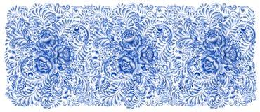 Russian painting gzhel Horizontal seamless pattern Stock Photography