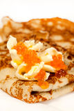 Russian traditional pancakes with caviar Royalty Free Stock Photos