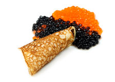 Russian traditional pancakes with Salmon caviar stock image