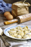 Russian traditional pelmeni with meat. Royalty Free Stock Image