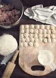 Russian traditional pelmeni with meat. Stock Photo