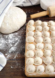 Russian traditional pelmeni with meat. Royalty Free Stock Photography