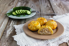 Russian traditional pies kurniki. Russian traditional pies kurniki on wooden background Stock Images