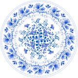 Russian traditional plate in gzhel style Stock Photos
