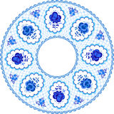 Russian traditional plate in gzhel style Stock Photography