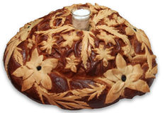 Russian traditional round loaf Royalty Free Stock Image