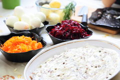 Russian traditional salad 'herring under fur coat Royalty Free Stock Photography