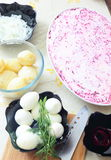 Russian traditional salad 'herring under fur coat Royalty Free Stock Images