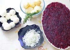 Russian traditional salad 'herring under fur coat Stock Photos
