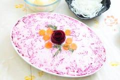 Russian traditional salad 'herring under fur coat Royalty Free Stock Photos