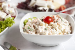 Russian traditional salad olivie Stock Photography