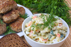 Russian traditional salad olivier Royalty Free Stock Images