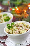 Russian traditional salad Olivier for New Year party Royalty Free Stock Image